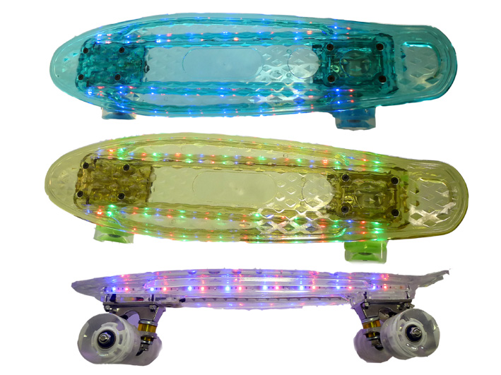 Penny Board Mini Skateboard transparent 56cm mit LED-Lichtband