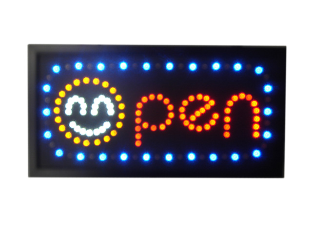 Reklameschild mit LED(OPEN+ Smiley)