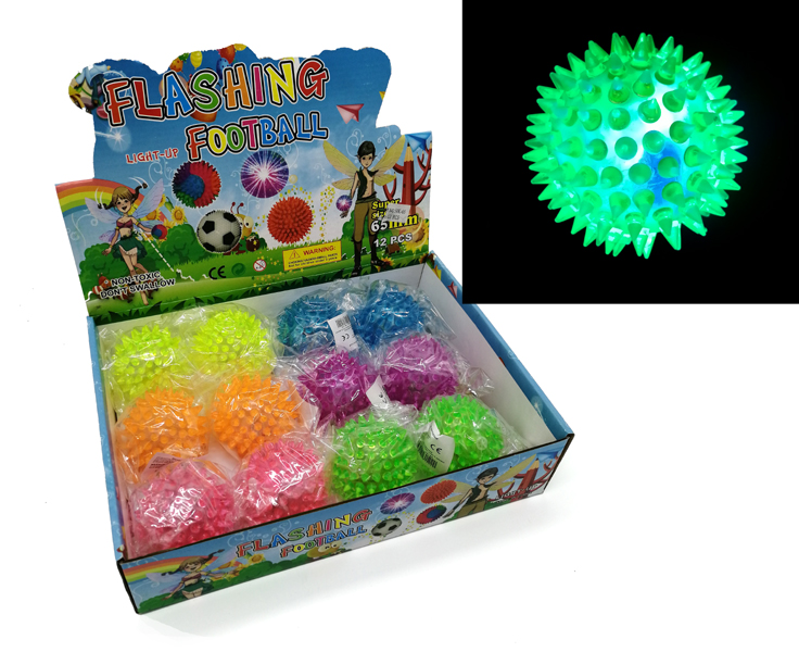 Spiky Bouncing Massage Ball Ø65mm with Light 12 PCS in Display