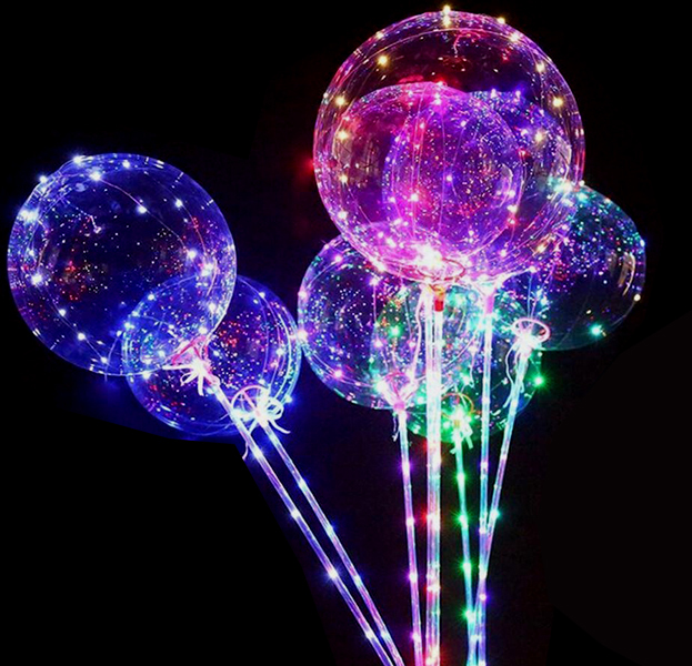 LED Ballon mit Lichterkette (Blinkfunktionen) und Stab